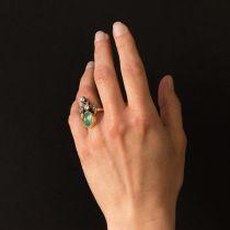 Bague duchesse émeraude cabochon et diamants