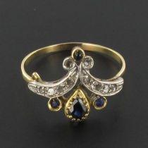 Bague duchesse saphirs diamants