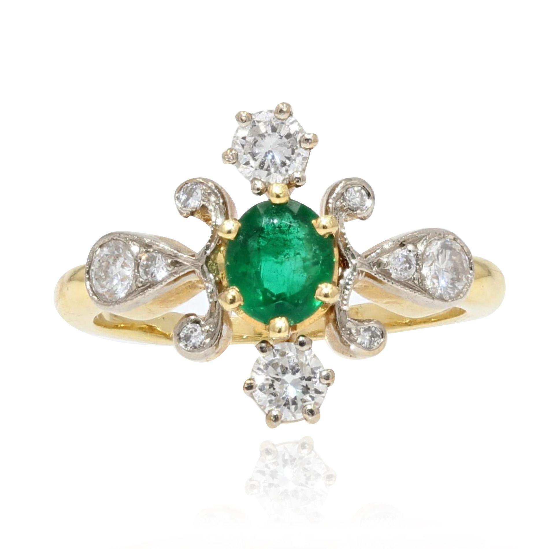 Bague émeraude diamants or jaune platine