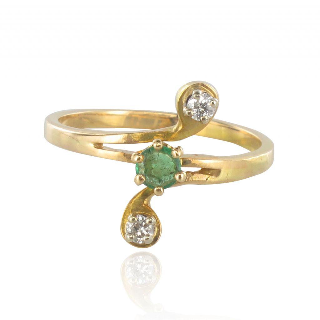 Bague émeraude diamants trio Or yellow Romantique   Moderne   Classique