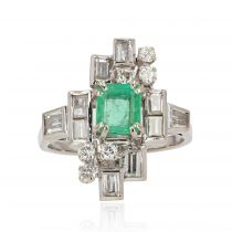 Bague émeraude diamants vintage