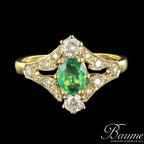 Bague Emeraude et diamants, esprit Belle époque