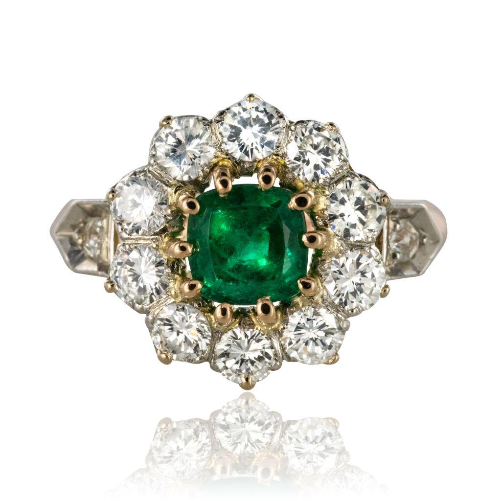 Bague émeraude et diamants ancienne