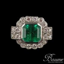 Bague Emeraude et Diamants esprit 1930