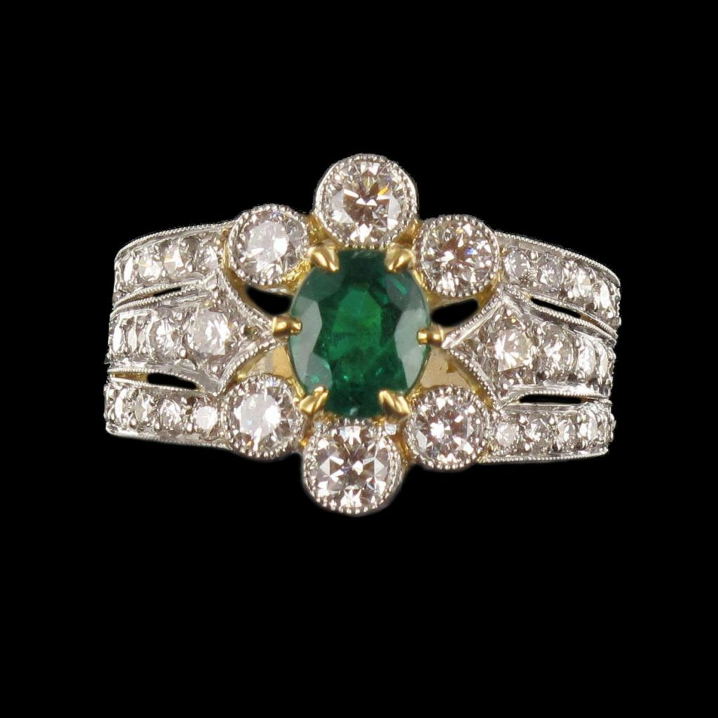 Bague Emeraude et Diamants esprit XIXème siècle G 23