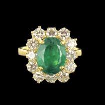 Bague émeraude et diamants or jaune
