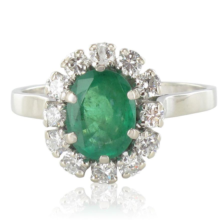 Bague Emeraude Diamants Pompadour Or Blanc 18k Vintage Classique