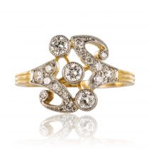 Bague en or jaune et platine, motif diamants