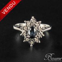 Bague en saphir diamants marguerite