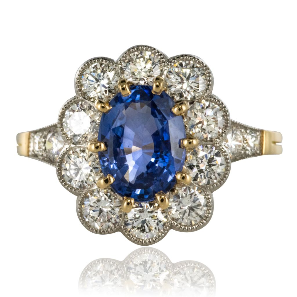 Bague entourage saphir et diamants