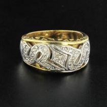 Bague femme diamants et or 2 tons