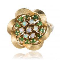 Bague fleur opales et grenats tsavorites