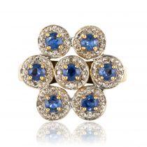 Bague fleur or jaune saphirs diamants