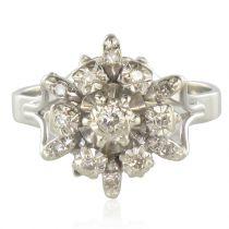 Bague flocon or blanc diamants