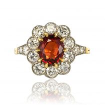 Bague grenat spessartite et diamants, marguerite