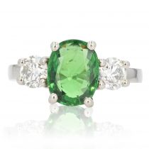 Bague grenat tsavorite diamants platine