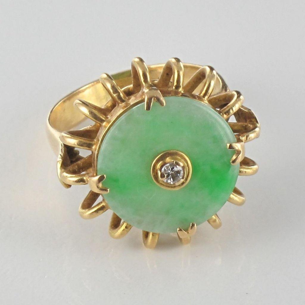 Bague jade et diamant