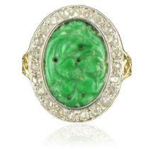 Bague jade et diamants