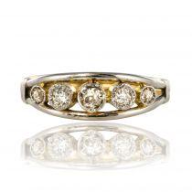 Bague jarretière 5 diamants