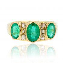 Bague jarretière émeraudes diamants