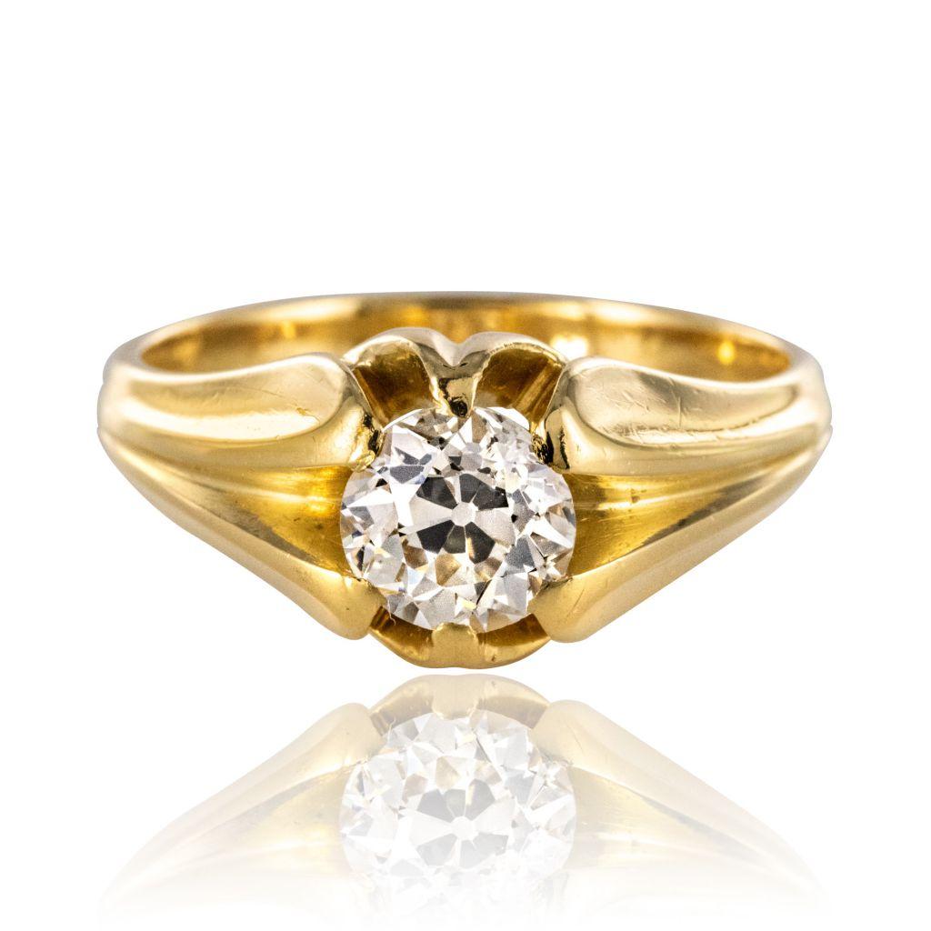 Bague jonc diamant ancien