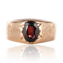 Bague jonc grenat or rose