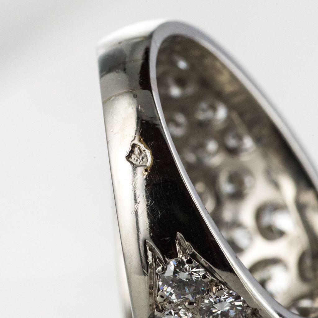 Bague jonc platine diamants