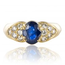 Bague jonc saphir diamants