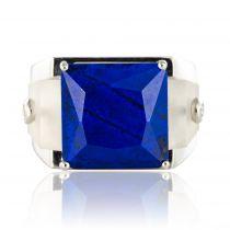Bague lapis lazuli cristal de roche et diamants