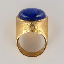 Bague lapis lazuli or jaune ciselé