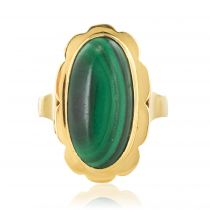 Bague malachite cabochon vintage