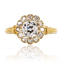 Bague marguerite ancienne diamants