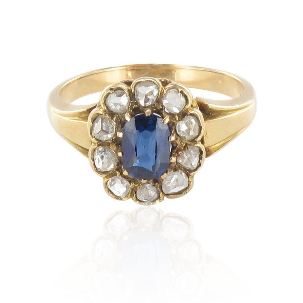 bague saphir marguerite ancienne en diamants bijouxbaume. Black Bedroom Furniture Sets. Home Design Ideas