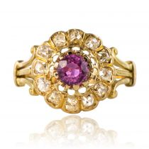 Bague marguerite ancienne saphir rose diamants