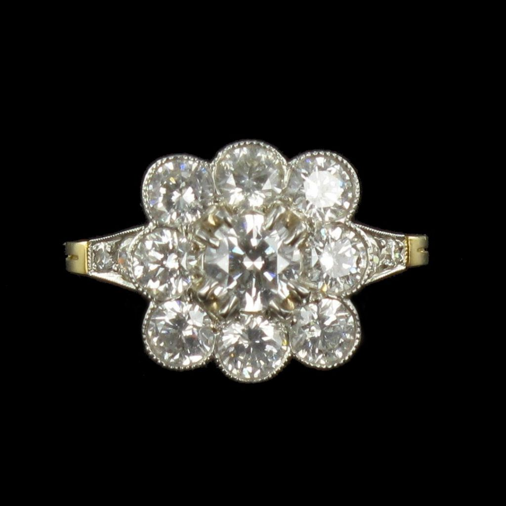 Bague marguerite carrée diamants G 25