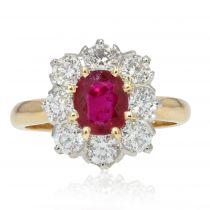 Bague marguerite de rubis et diamants