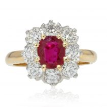 Bague marguerite de rubis et diamants