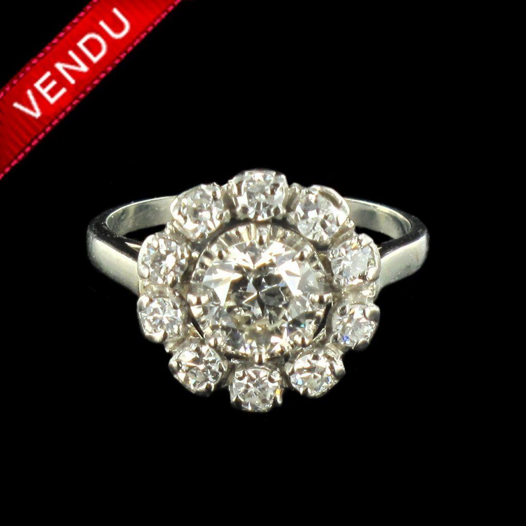acheter pas cher 100% qualité garantie couleur rapide Bague marguerite diamant or blanc