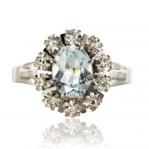 Bague marguerite diamants aigue-marine
