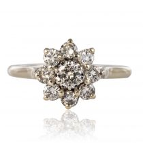Bague marguerite diamants or blanc