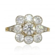 Bague marguerite diamants or platine