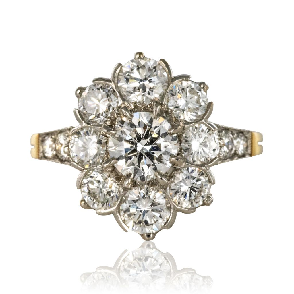 Bague marguerite diamants platine or