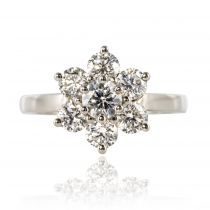 Bague marguerite diamants platine