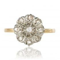 Bague marguerite diamants taillés en rose