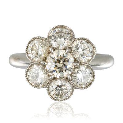 Bague marguerite or blanc diamants