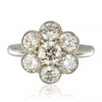 Bague marguerite or blanc diamants