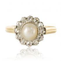 Bague marguerite perle fine diamants