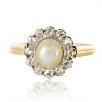 Bague marguerite perle fine diamants