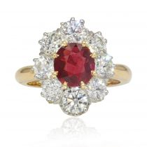 Bague marguerite rubis diamants or platine