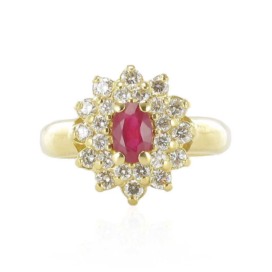 Ring daisy ruby diamonds 18K Yellow gold Modern Classic Ring